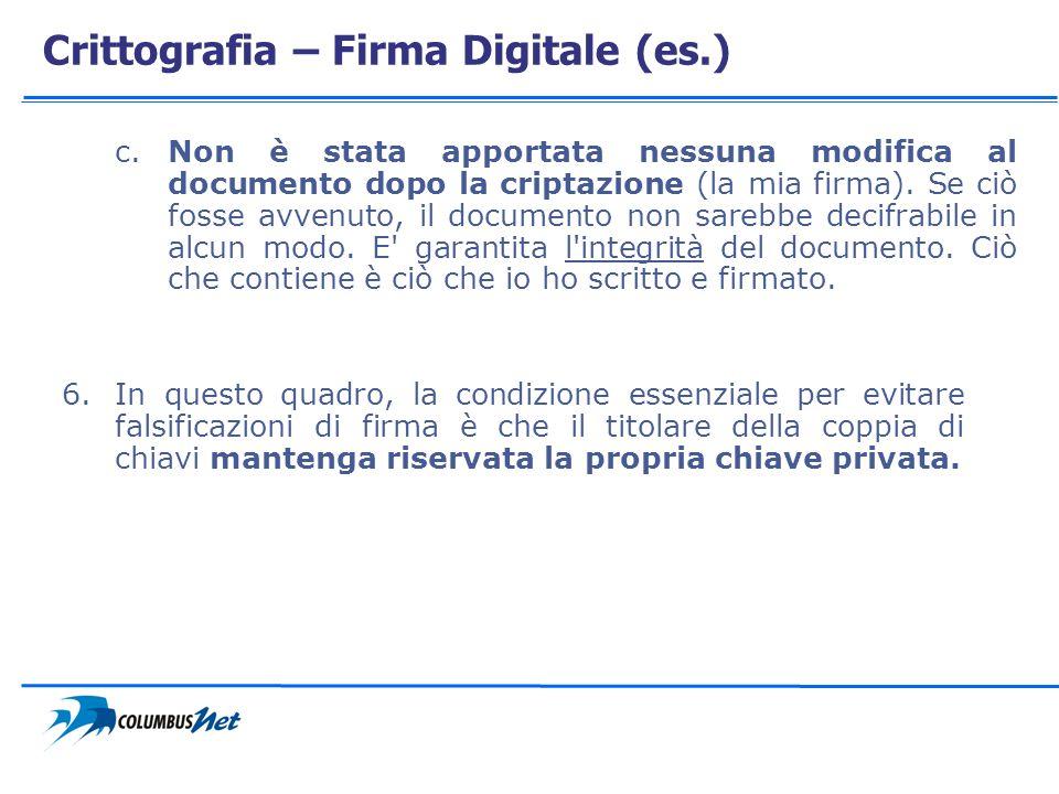 Crittografia – Firma Digitale (es.) c.Non è stata apportata nessuna modifica al documento dopo la criptazione (la mia firma). Se ciò fosse avvenuto, i