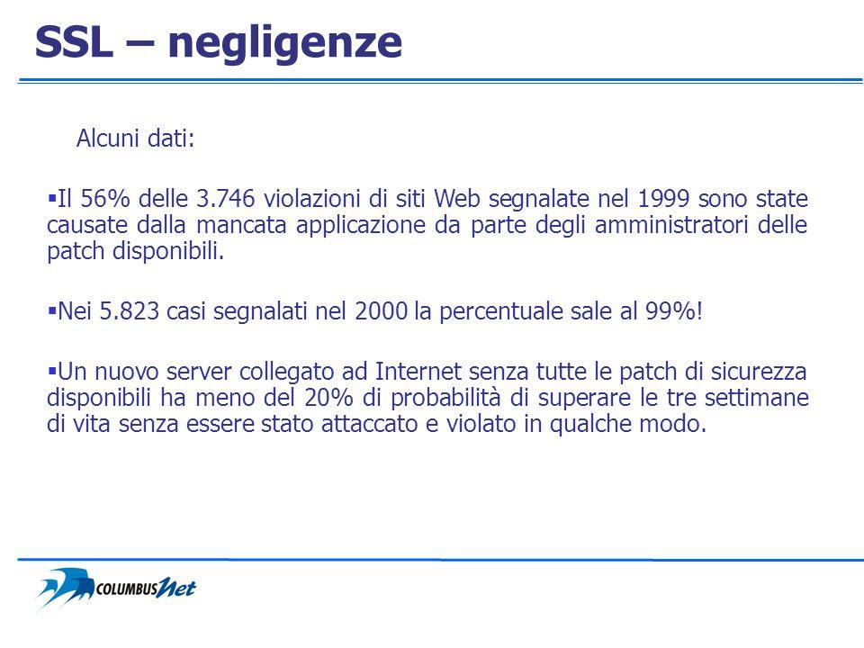 SSL – negligenze Alcuni dati: Il 56% delle 3.746 violazioni di siti Web segnalate nel 1999 sono state causate dalla mancata applicazione da parte degl