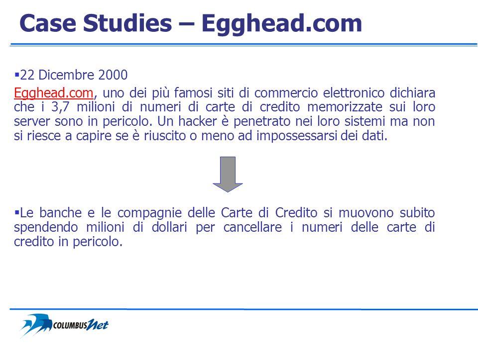 Case Studies – Egghead.com 22 Dicembre 2000 Egghead.comEgghead.com, uno dei più famosi siti di commercio elettronico dichiara che i 3,7 milioni di num