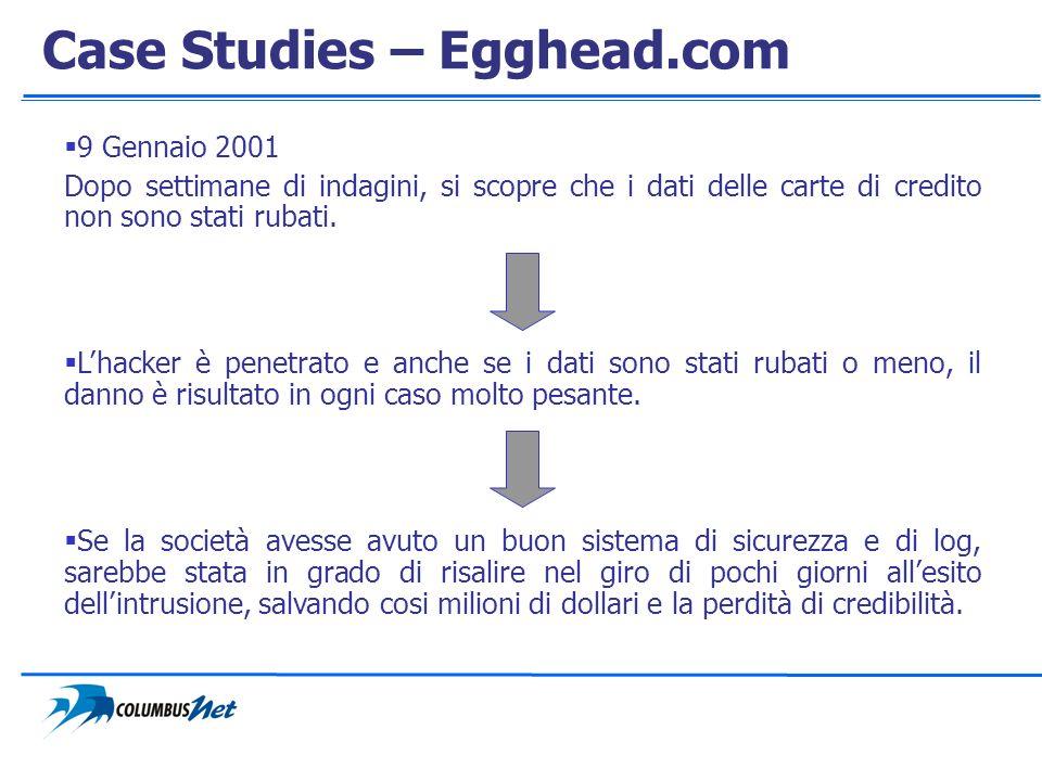Case Studies – Egghead.com 9 Gennaio 2001 Dopo settimane di indagini, si scopre che i dati delle carte di credito non sono stati rubati. Lhacker è pen