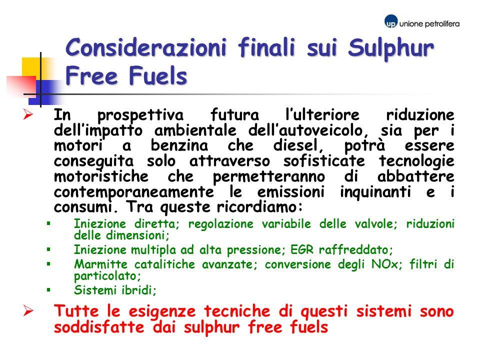 Considerazioni finali sui Sulphur Free Fuels In prospettiva futura lulteriore riduzione dellimpatto ambientale dellautoveicolo, sia per i motori a ben