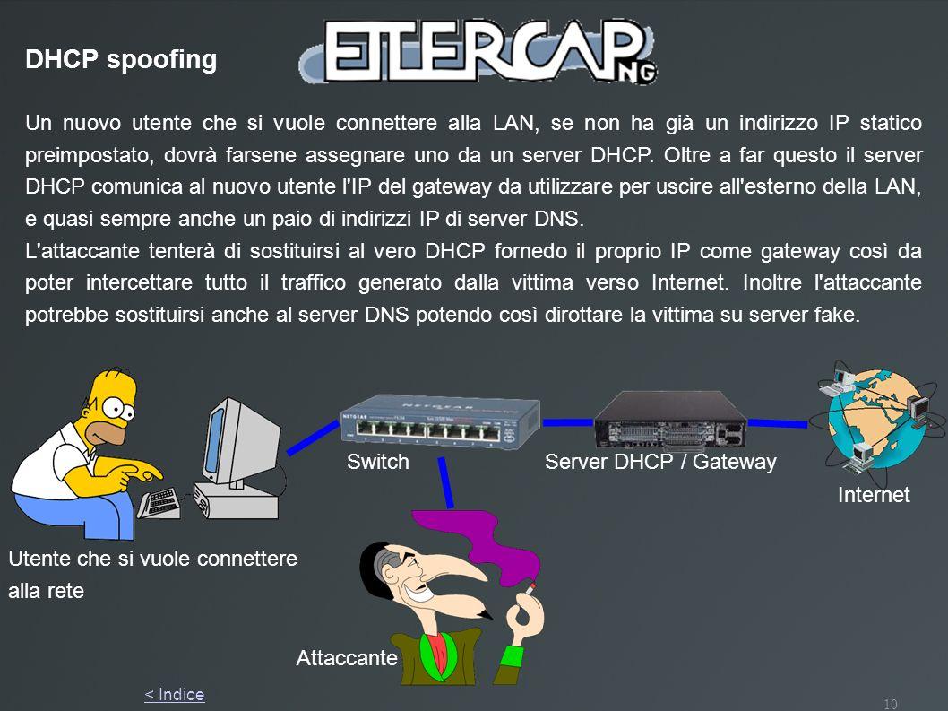 10 Server DHCP / Gateway Utente che si vuole connettere alla rete Switch Un nuovo utente che si vuole connettere alla LAN, se non ha già un indirizzo
