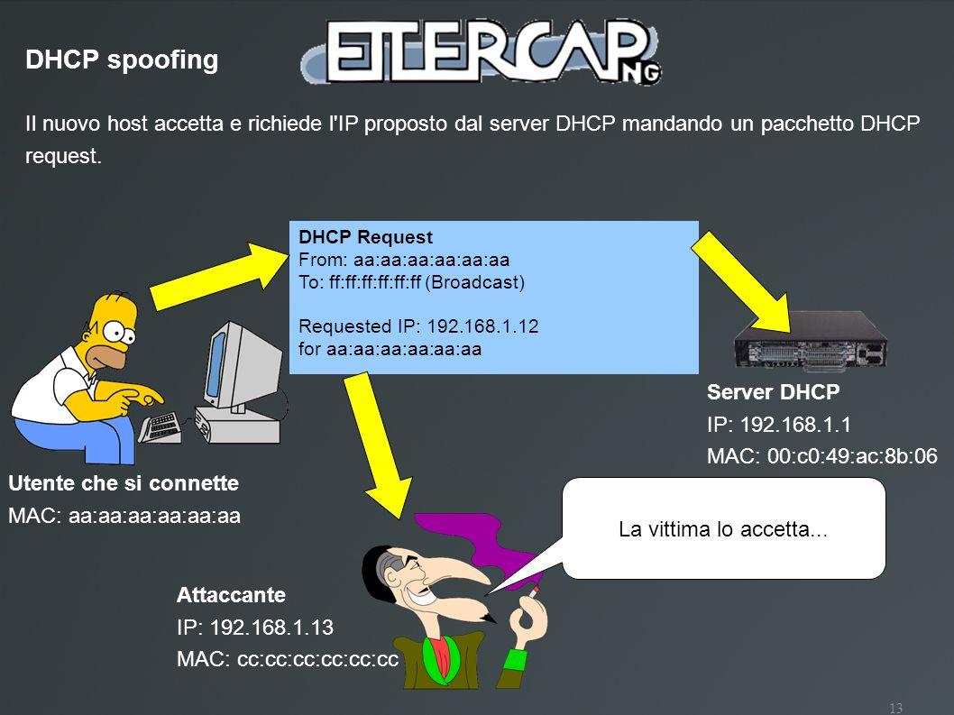 13 Il nuovo host accetta e richiede l'IP proposto dal server DHCP mandando un pacchetto DHCP request. DHCP spoofing DHCP Request From: aa:aa:aa:aa:aa: