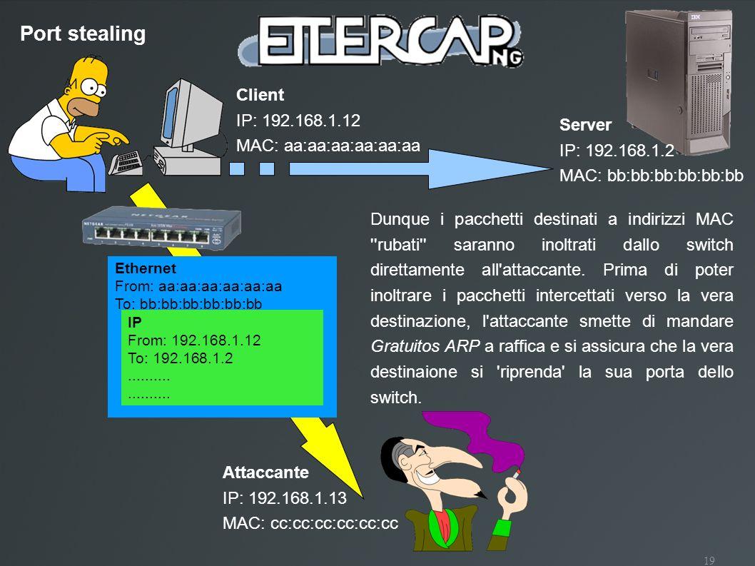 19 Port stealing Client IP: 192.168.1.12 MAC: aa:aa:aa:aa:aa:aa Attaccante IP: 192.168.1.13 MAC: cc:cc:cc:cc:cc:cc Ethernet From: aa:aa:aa:aa:aa:aa To
