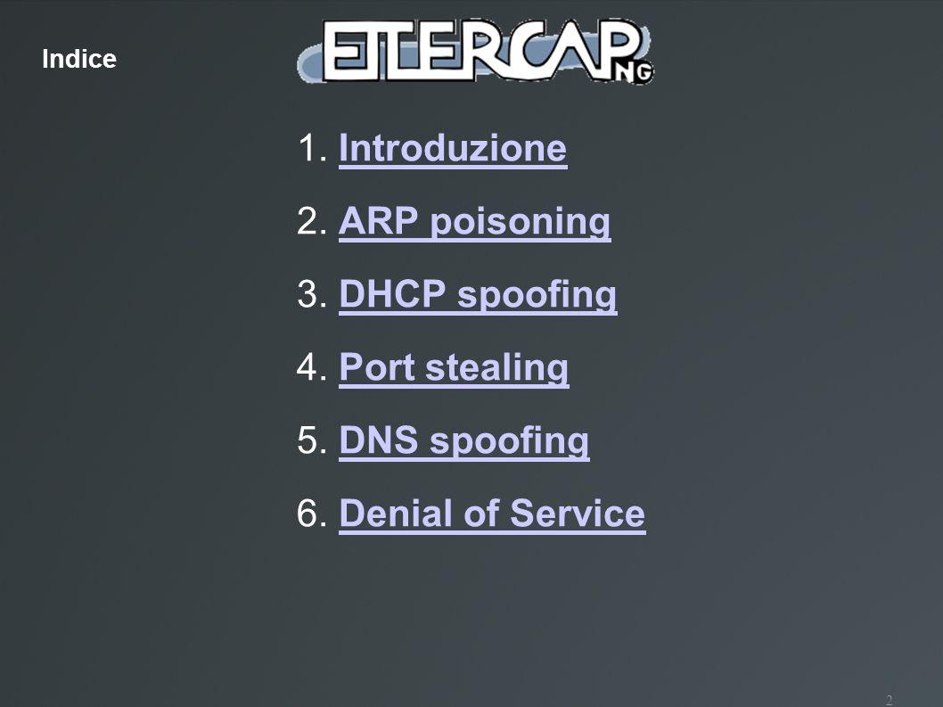 2 1. IntroduzioneIntroduzione 2. ARP poisoningARP poisoning 3. DHCP spoofingDHCP spoofing 4. Port stealingPort stealing 5. DNS spoofingDNS spoofing 6.