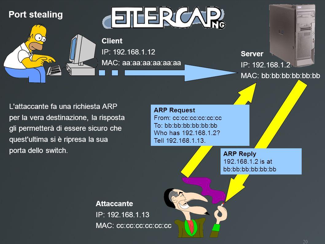 20 Port stealing Client IP: 192.168.1.12 MAC: aa:aa:aa:aa:aa:aa Attaccante IP: 192.168.1.13 MAC: cc:cc:cc:cc:cc:cc Server IP: 192.168.1.2 MAC: bb:bb:b