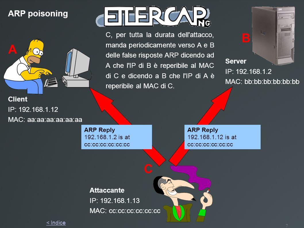 7 ARP poisoning A B C Client IP: 192.168.1.12 MAC: aa:aa:aa:aa:aa:aa Server IP: 192.168.1.2 MAC: bb:bb:bb:bb:bb:bb Attaccante IP: 192.168.1.13 MAC: cc