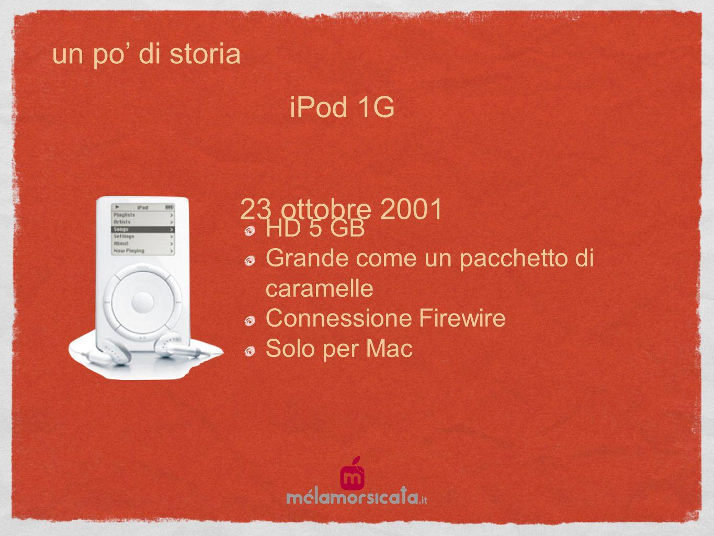 un po di storia 23 ottobre 2001 HD 5 GB Grande come un pacchetto di caramelle Connessione Firewire Solo per Mac iPod 1G