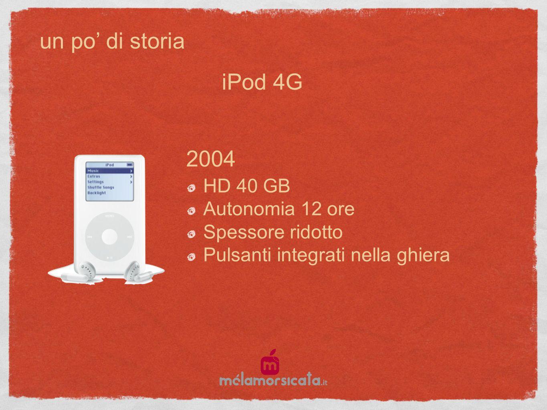 un po di storia 2004 HD 40 GB Autonomia 12 ore Spessore ridotto Pulsanti integrati nella ghiera iPod 4G
