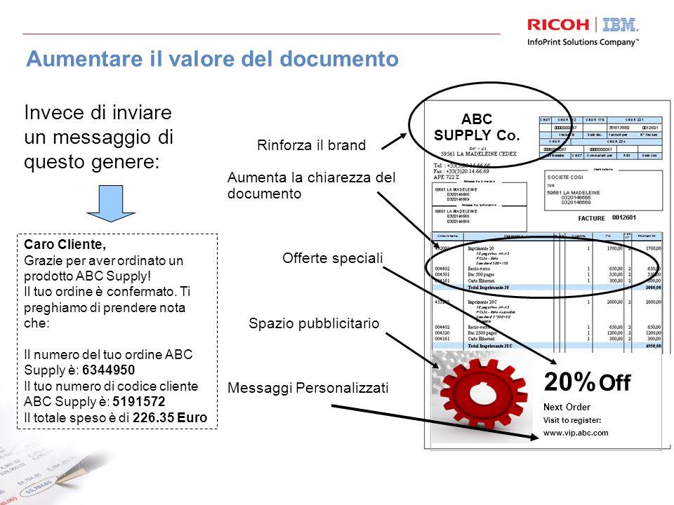 Aumentare il valore del documento Caro Cliente, Grazie per aver ordinato un prodotto ABC Supply.