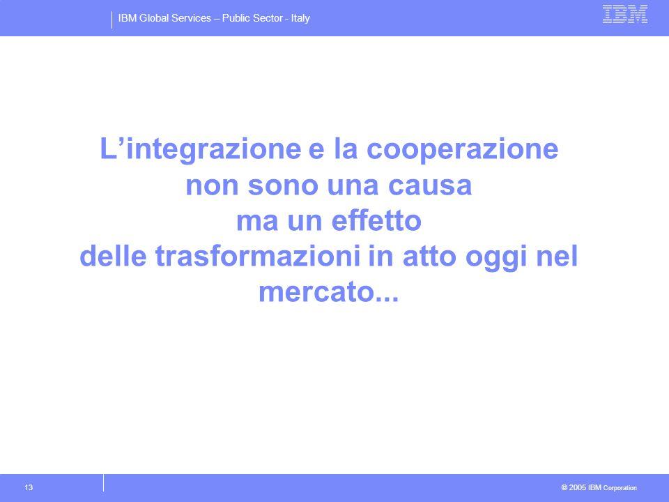 IBM Global Services – Public Sector - Italy © 2005 IBM Corporation 13 Lintegrazione e la cooperazione non sono una causa ma un effetto delle trasforma