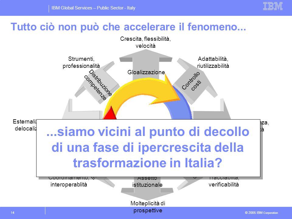 IBM Global Services – Public Sector - Italy © 2005 IBM Corporation 14 Esternalizzazione, delocalizzazione Nuovi modelli aziendali Crescita, flessibili