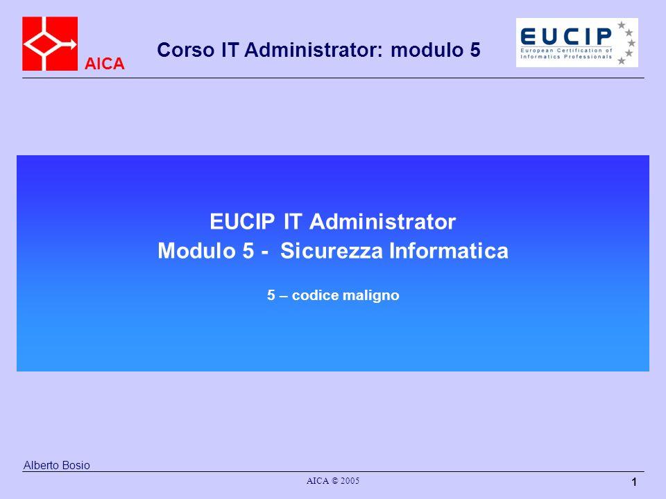 AICA Corso IT Administrator: modulo 5 AICA © 2005 1 EUCIP IT Administrator Modulo 5 - Sicurezza Informatica 5 – codice maligno Alberto Bosio