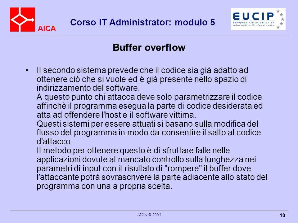 AICA Corso IT Administrator: modulo 5 AICA © 2005 10 Buffer overflow Il secondo sistema prevede che il codice sia già adatto ad ottenere ciò che si vuole ed è già presente nello spazio di indirizzamento del software.