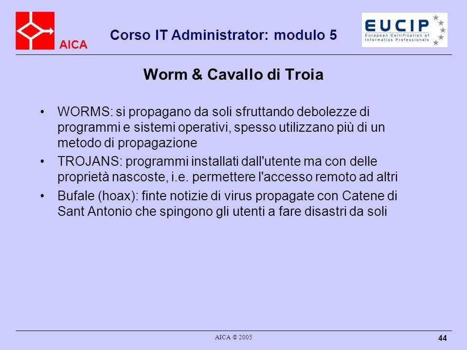 AICA Corso IT Administrator: modulo 5 AICA © 2005 44 Worm & Cavallo di Troia WORMS: si propagano da soli sfruttando debolezze di programmi e sistemi operativi, spesso utilizzano più di un metodo di propagazione TROJANS: programmi installati dall utente ma con delle proprietà nascoste, i.e.