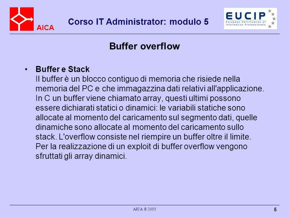 AICA Corso IT Administrator: modulo 5 AICA © 2005 5 Buffer overflow Buffer e Stack Il buffer è un blocco contiguo di memoria che risiede nella memoria del PC e che immagazzina dati relativi all applicazione.