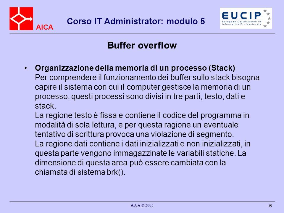 AICA Corso IT Administrator: modulo 5 AICA © 2005 6 Buffer overflow Organizzazione della memoria di un processo (Stack) Per comprendere il funzionamento dei buffer sullo stack bisogna capire il sistema con cui il computer gestisce la memoria di un processo, questi processi sono divisi in tre parti, testo, dati e stack.