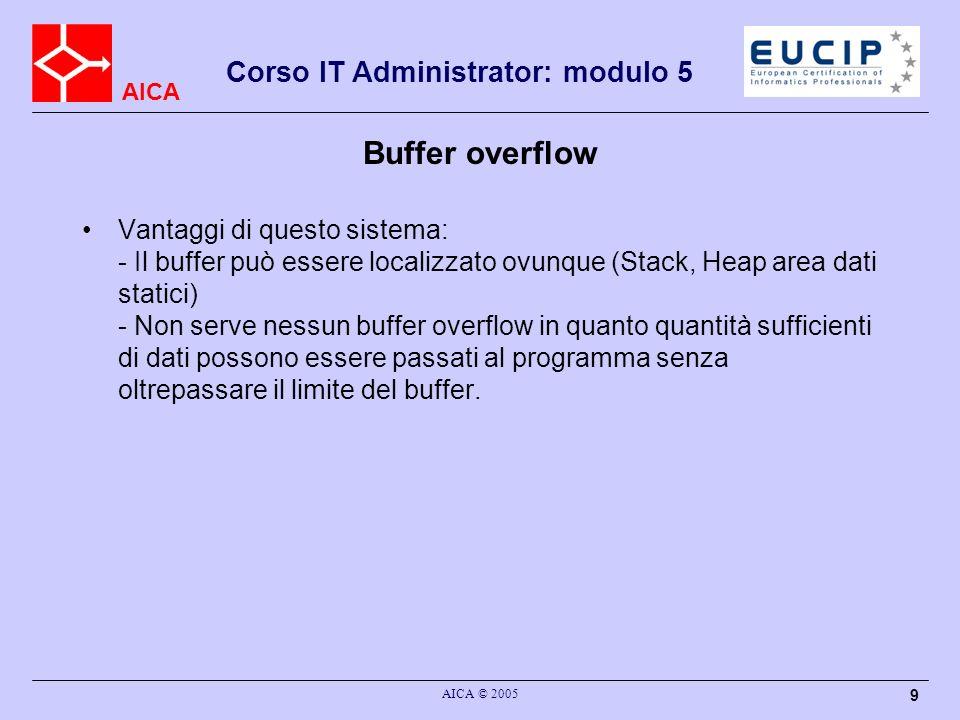 AICA Corso IT Administrator: modulo 5 AICA © 2005 9 Buffer overflow Vantaggi di questo sistema: - Il buffer può essere localizzato ovunque (Stack, Heap area dati statici) - Non serve nessun buffer overflow in quanto quantità sufficienti di dati possono essere passati al programma senza oltrepassare il limite del buffer.