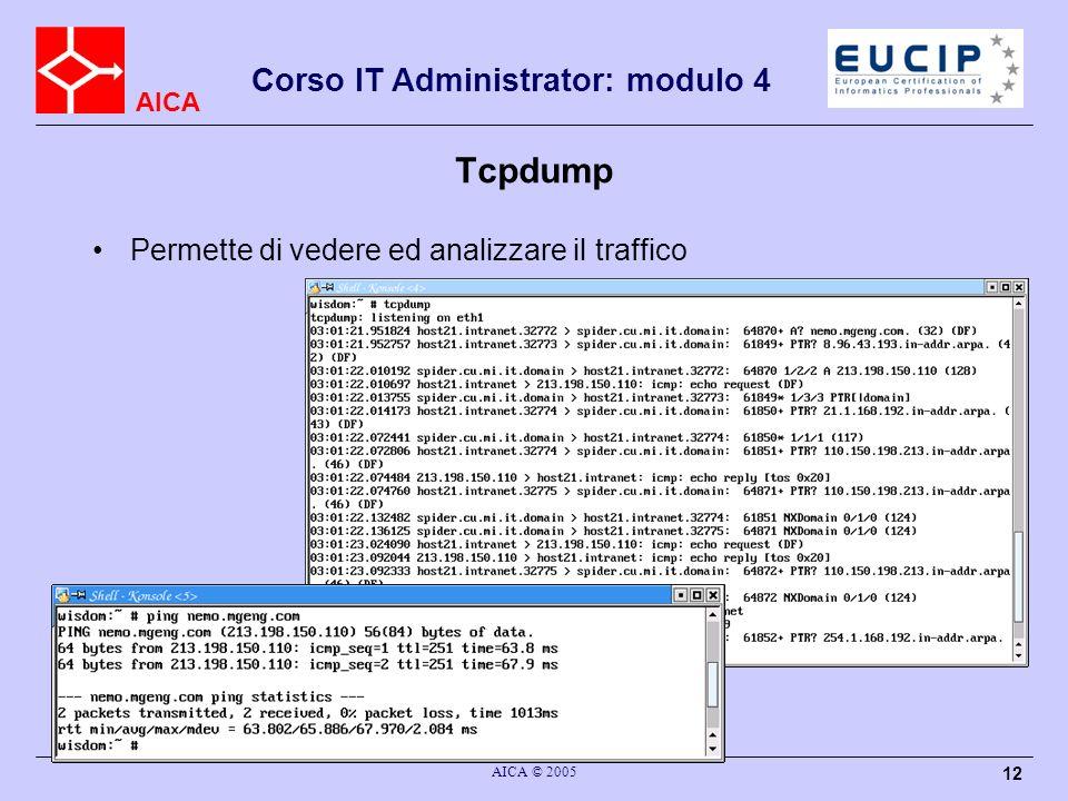 AICA Corso IT Administrator: modulo 4 AICA © 2005 12 Tcpdump Permette di vedere ed analizzare il traffico