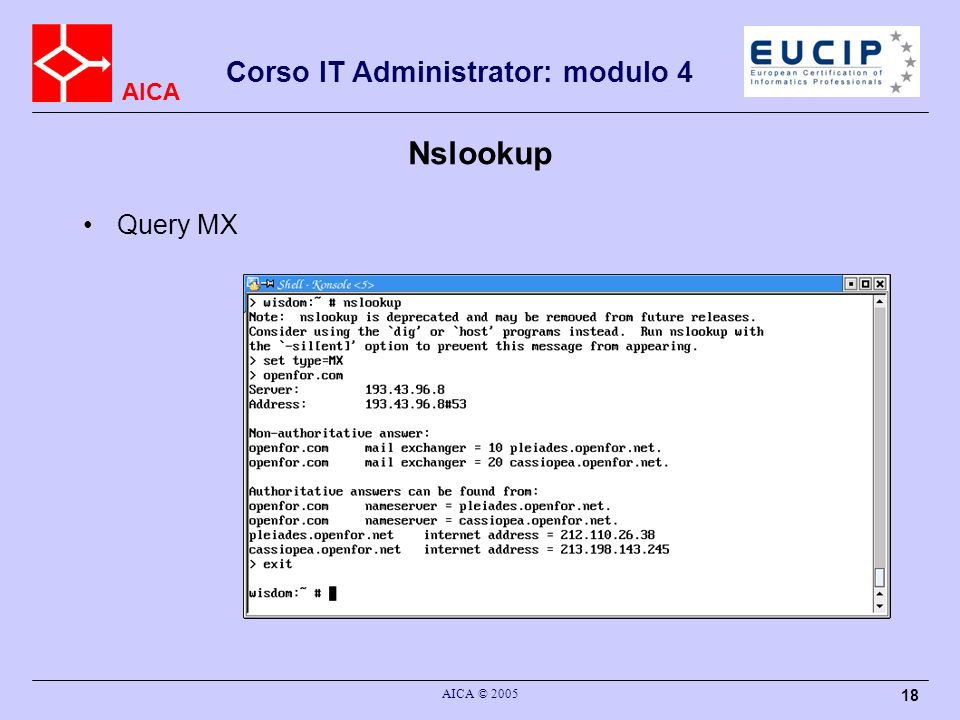 AICA Corso IT Administrator: modulo 4 AICA © 2005 18 Nslookup Query MX