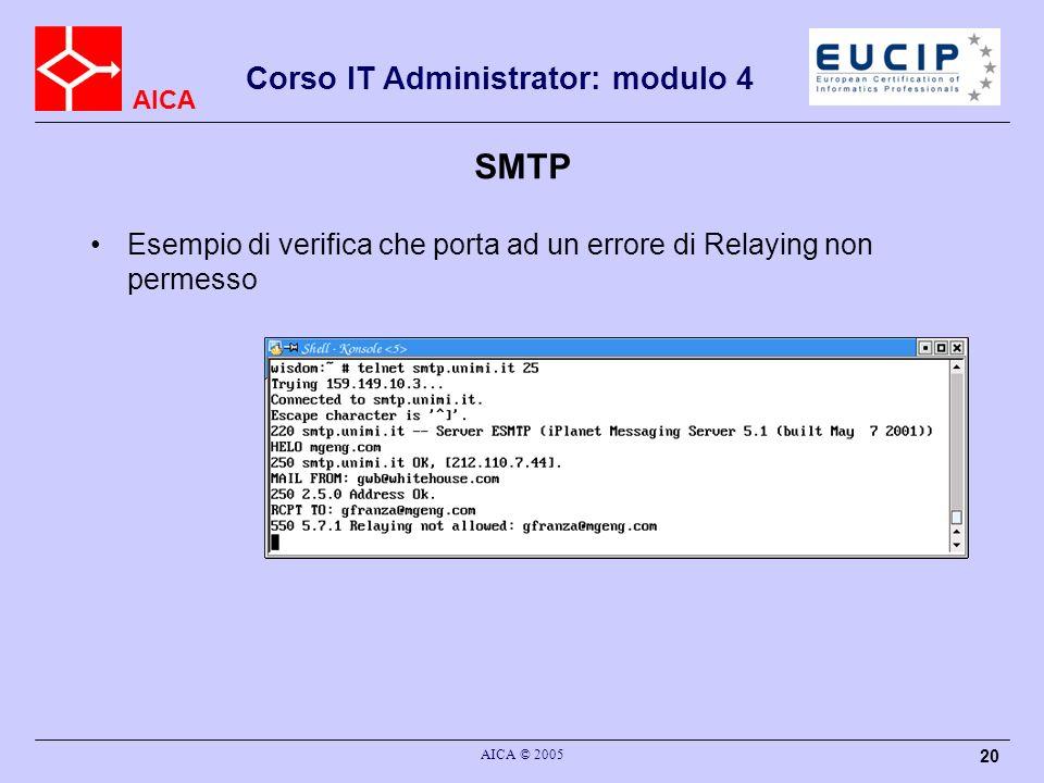 AICA Corso IT Administrator: modulo 4 AICA © 2005 20 SMTP Esempio di verifica che porta ad un errore di Relaying non permesso