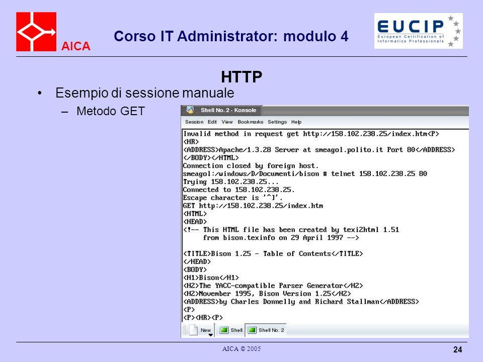 AICA Corso IT Administrator: modulo 4 AICA © 2005 24 HTTP Esempio di sessione manuale –Metodo GET