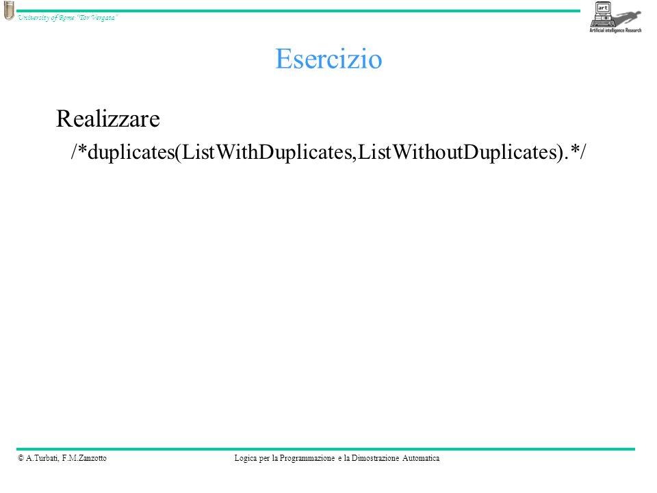 © A.Turbati, F.M.ZanzottoLogica per la Programmazione e la Dimostrazione Automatica University of Rome Tor Vergata Esercizio Realizzare /*duplicates(ListWithDuplicates,ListWithoutDuplicates).*/