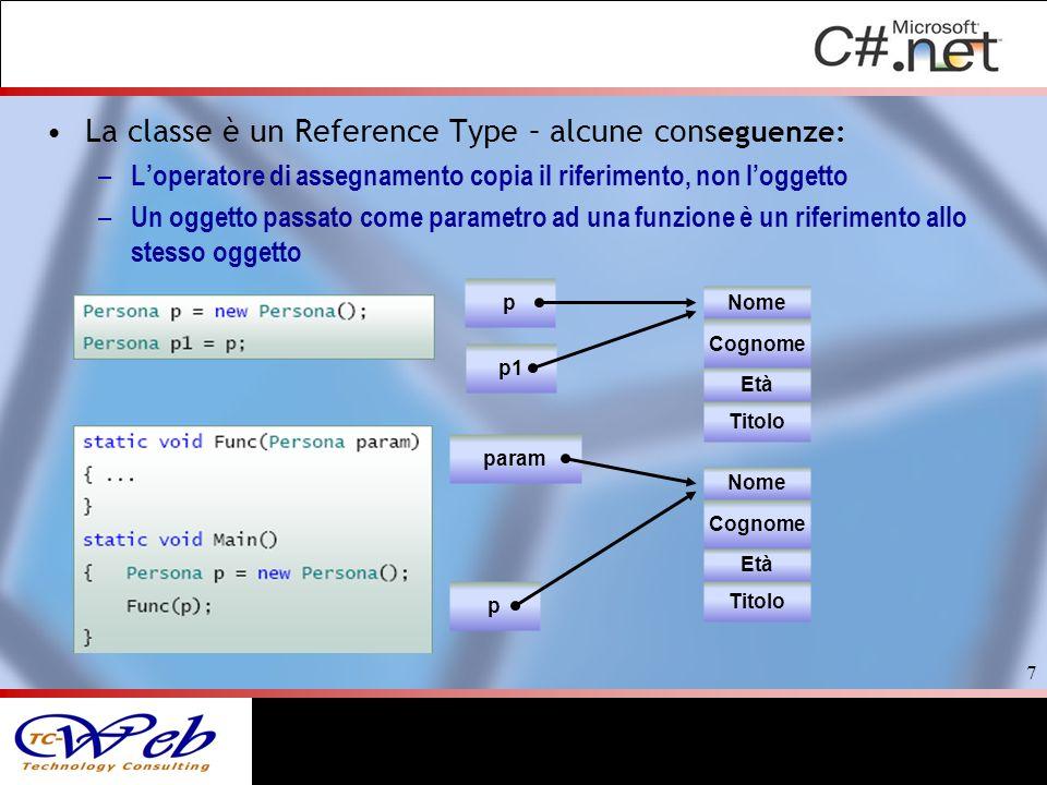 La classe è un Reference Type – alcune cons eguenze: – Loperatore di assegnamento copia il riferimento, non loggetto – Un oggetto passato come parametro ad una funzione è un riferimento allo stesso oggetto 7 p p1 Nome Cognome Età Titolo p param Nome Cognome Età Titolo