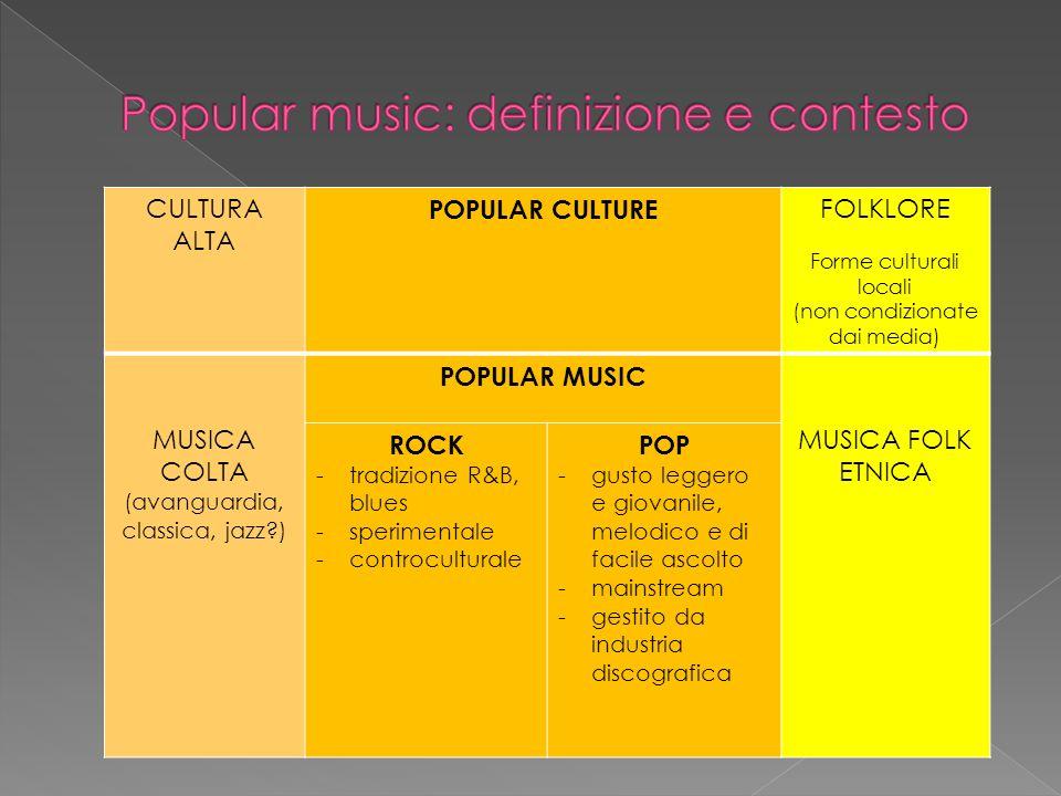 CULTURA ALTA POPULAR CULTURE FOLKLORE Forme culturali locali (non condizionate dai media) MUSICA COLTA (avanguardia, classica, jazz?) POPULAR MUSIC MUSICA FOLK ETNICA ROCK -tradizione R&B, blues -sperimentale -controculturale POP -gusto leggero e giovanile, melodico e di facile ascolto -mainstream -gestito da industria discografica
