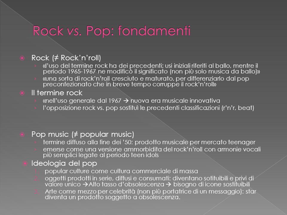 Un nuovo approccio alla nozione di genere Un nuovo metodo per la classificazione di brani di popular music Unindagine empirica che verifica la consistenza del metodo in base alla percezione di due generi storicamente contrapposti: rock e pop