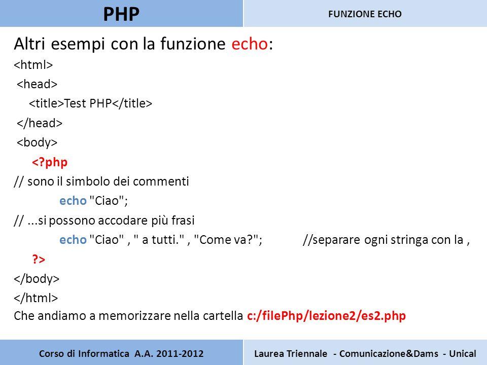 Corso di Informatica A.A. 2011-2012Laurea Triennale - Comunicazione&Dams - Unical PHP FUNZIONE ECHO Altri esempi con la funzione echo: Test PHP <?php