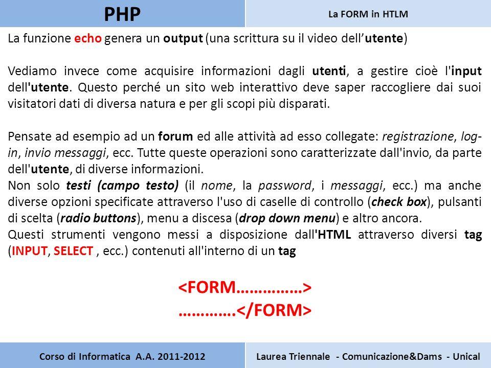 Corso di Informatica A.A. 2011-2012Laurea Triennale - Comunicazione&Dams - Unical PHP La FORM in HTLM La funzione echo genera un output (una scrittura