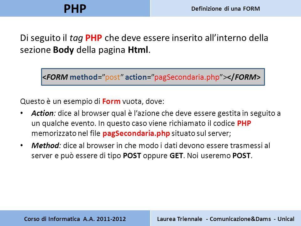 Di seguito il tag PHP che deve essere inserito allinterno della sezione Body della pagina Html. Questo è un esempio di Form vuota, dove: Action: dice
