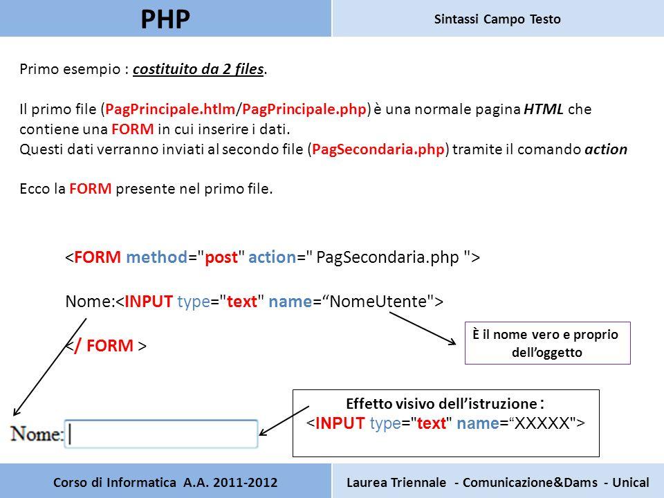 Corso di Informatica A.A. 2011-2012Laurea Triennale - Comunicazione&Dams - Unical PHP Sintassi Campo Testo Primo esempio : costituito da 2 files. Il p