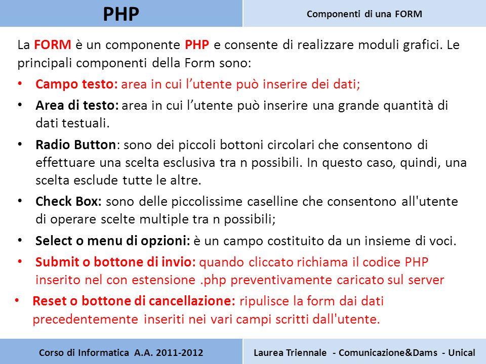 La FORM è un componente PHP e consente di realizzare moduli grafici. Le principali componenti della Form sono: Campo testo: area in cui lutente può in