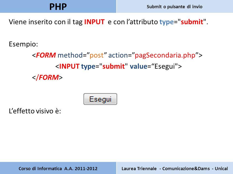 Viene inserito con il tag INPUT e con lattributo type= submit .