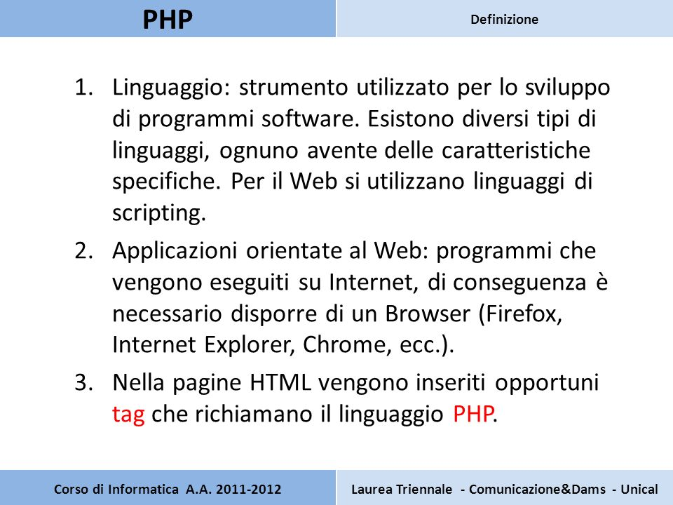 1.Linguaggio: strumento utilizzato per lo sviluppo di programmi software. Esistono diversi tipi di linguaggi, ognuno avente delle caratteristiche spec