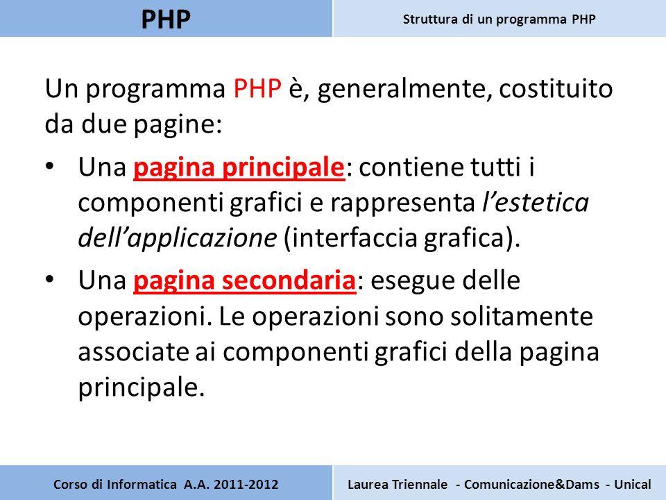 Un programma PHP è, generalmente, costituito da due pagine: Una pagina principale: contiene tutti i componenti grafici e rappresenta lestetica dellapp