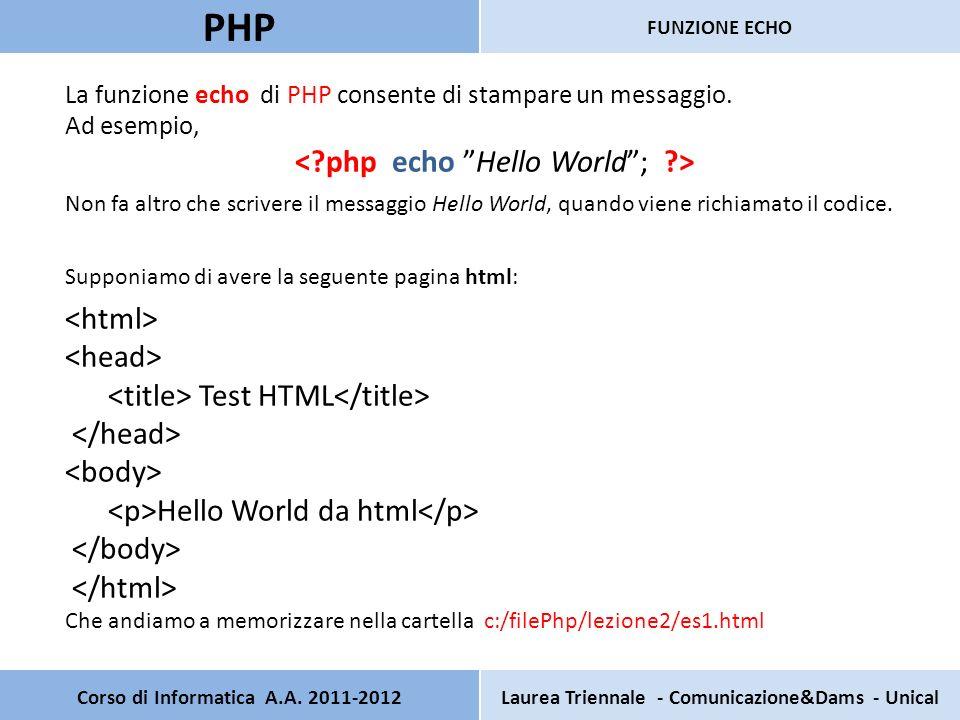 Corso di Informatica A.A. 2011-2012Laurea Triennale - Comunicazione&Dams - Unical PHP FUNZIONE ECHO La funzione echo di PHP consente di stampare un me