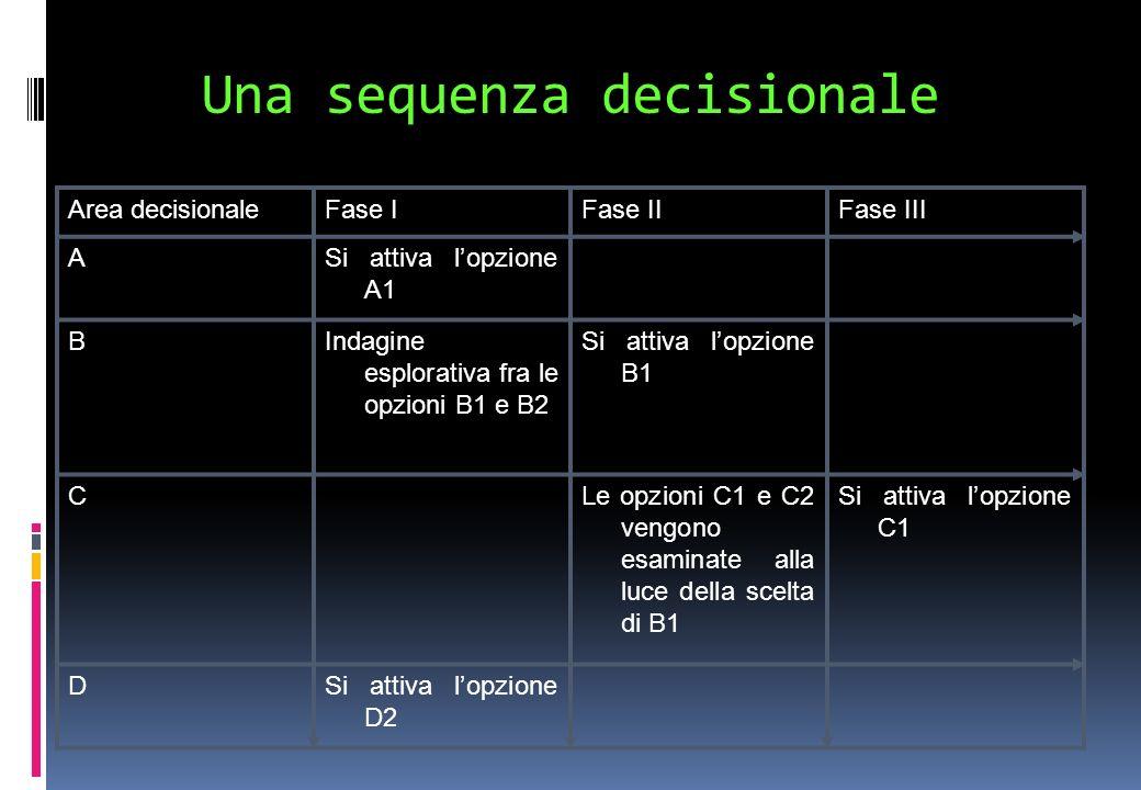 Una sequenza decisionale Area decisionaleFase IFase IIFase III ASi attiva lopzione A1 BIndagine esplorativa fra le opzioni B1 e B2 Si attiva lopzione