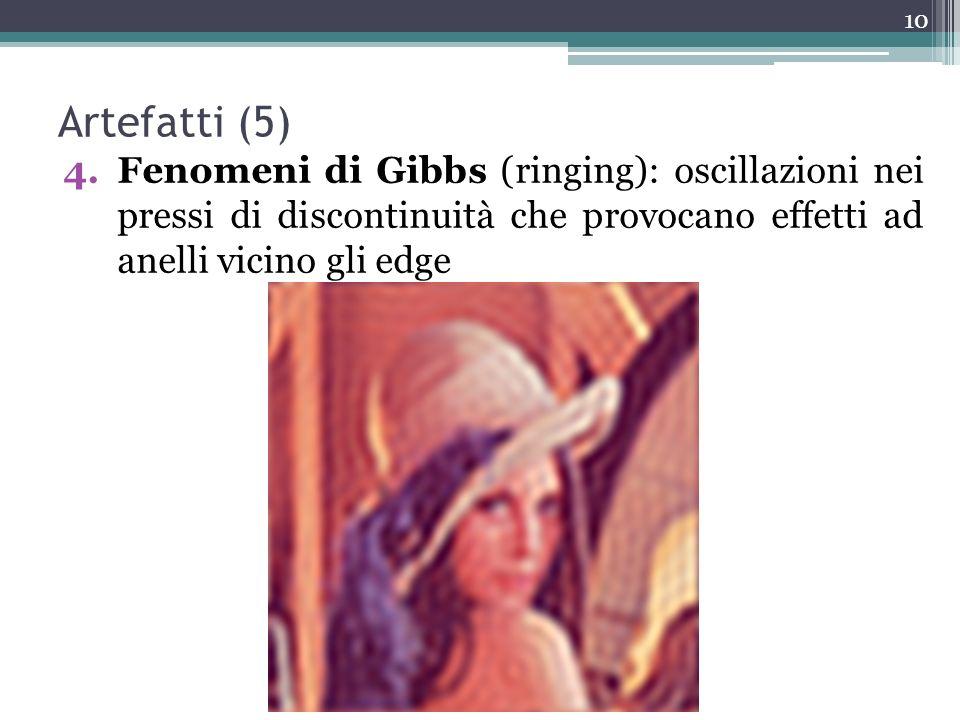 Artefatti (5) 4.Fenomeni di Gibbs (ringing): oscillazioni nei pressi di discontinuità che provocano effetti ad anelli vicino gli edge 10