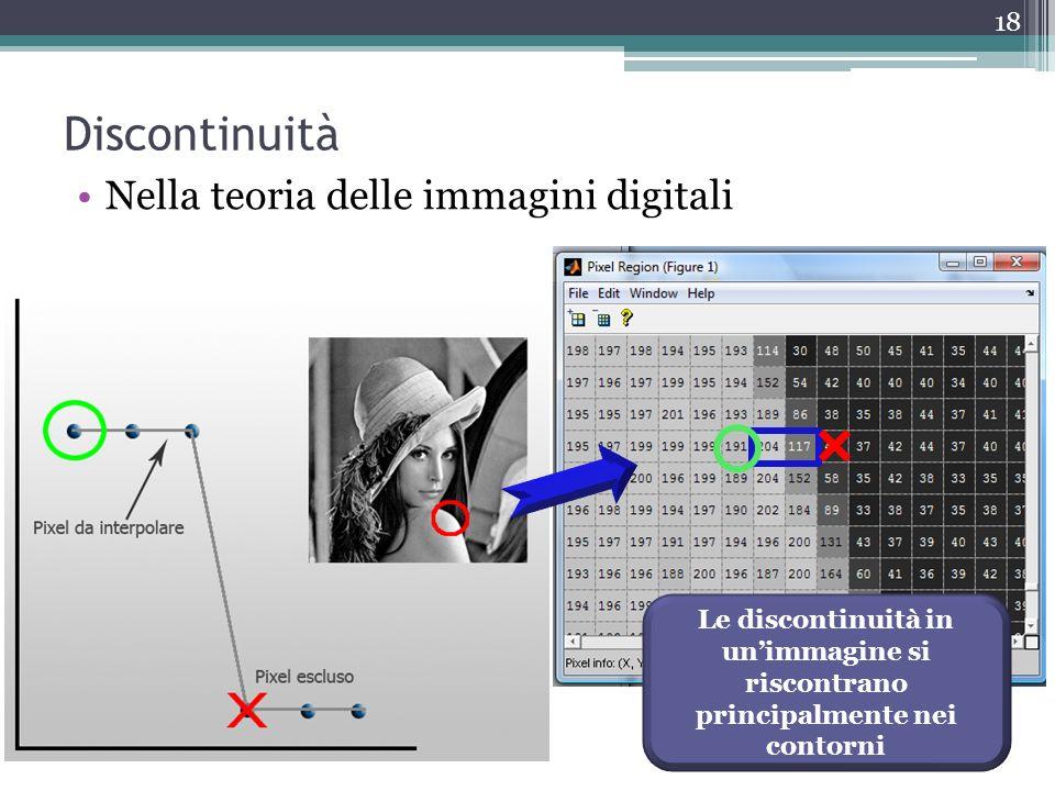 Discontinuità Nella teoria delle immagini digitali Le discontinuità in unimmagine si riscontrano principalmente nei contorni 18