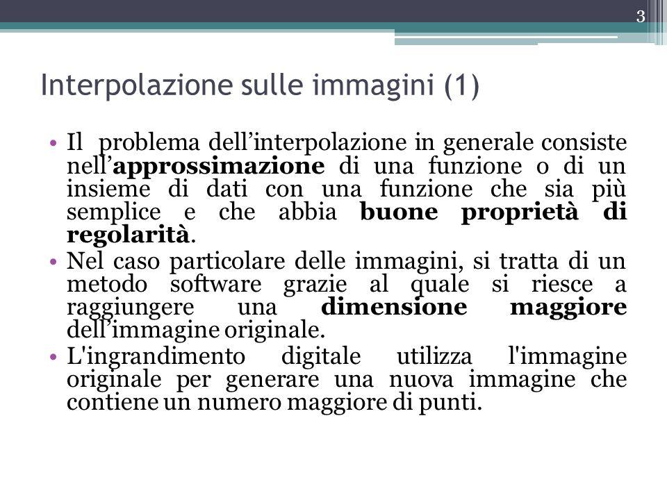 Interpolazione sulle immagini (1) Il problema dellinterpolazione in generale consiste nellapprossimazione di una funzione o di un insieme di dati con