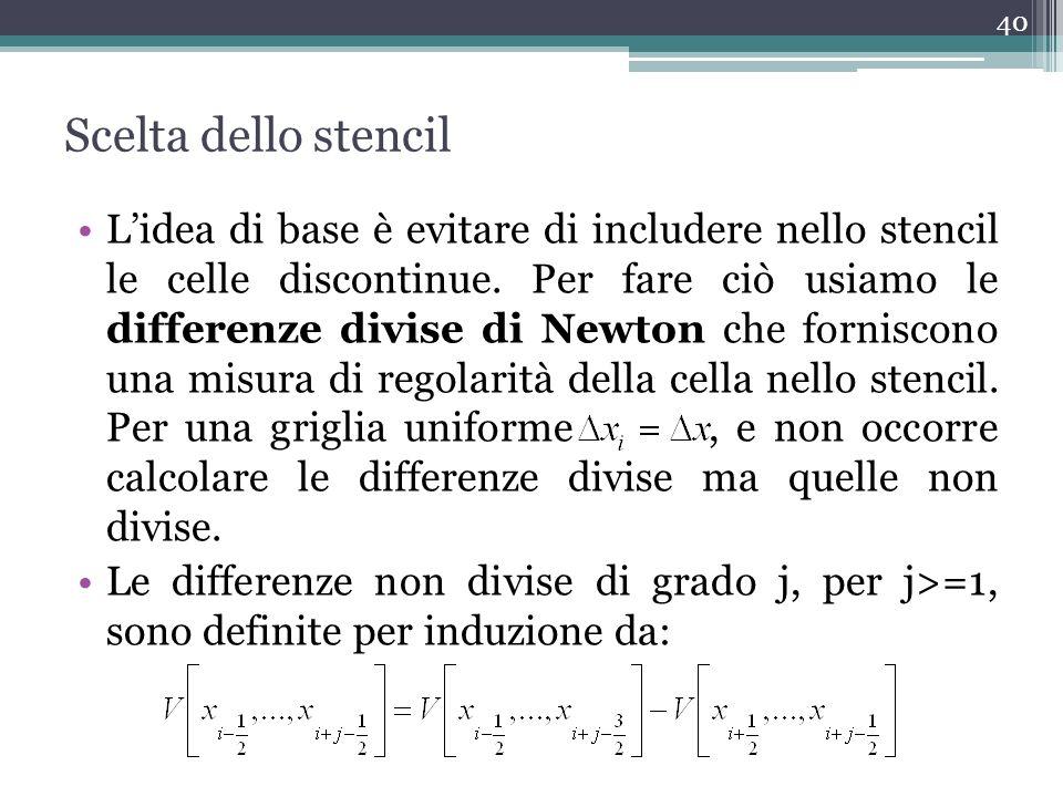 Scelta dello stencil Lidea di base è evitare di includere nello stencil le celle discontinue. Per fare ciò usiamo le differenze divise di Newton che f