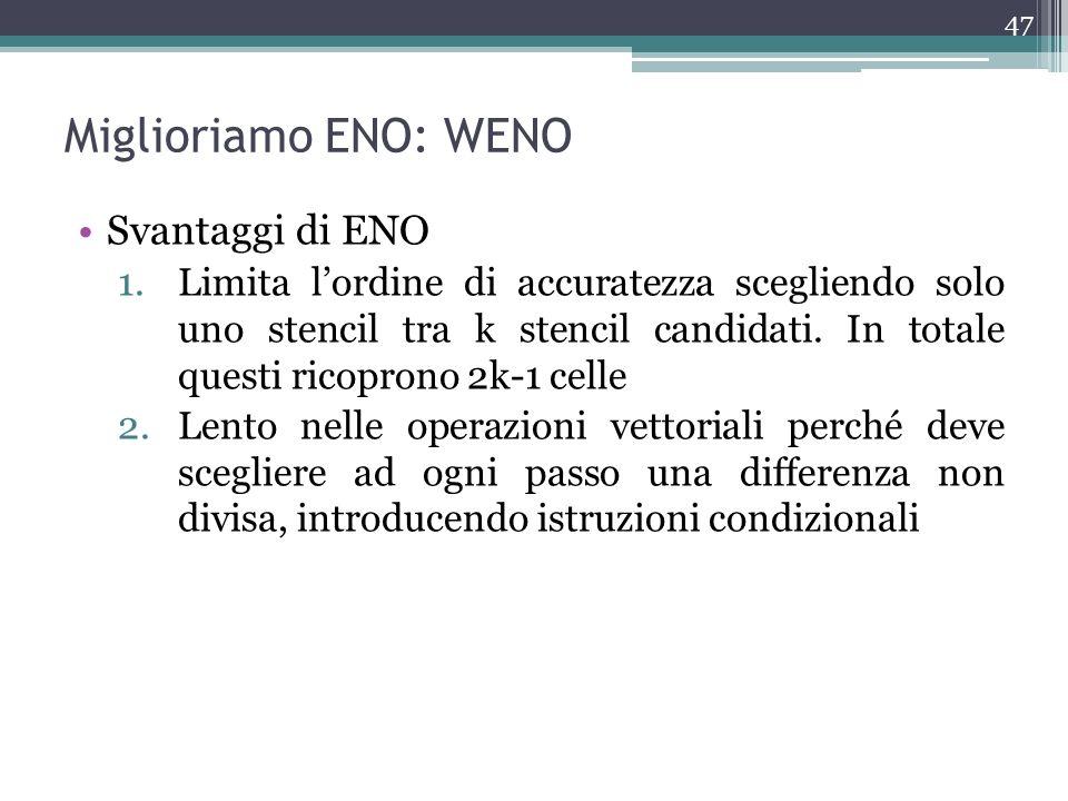 Miglioriamo ENO: WENO Svantaggi di ENO 1.Limita lordine di accuratezza scegliendo solo uno stencil tra k stencil candidati. In totale questi ricoprono