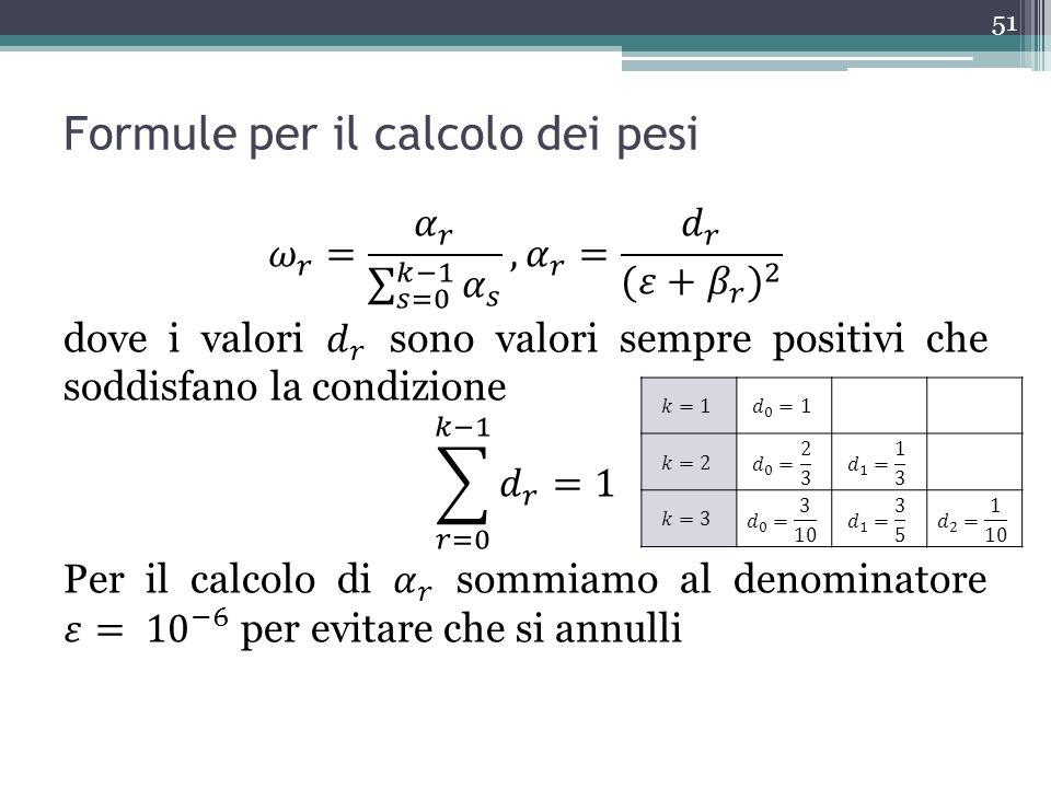 Formule per il calcolo dei pesi 51