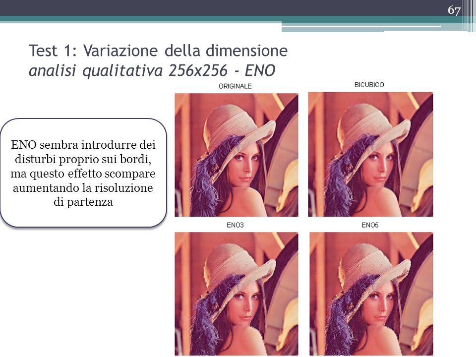Test 1: Variazione della dimensione analisi qualitativa 256x256 - ENO ENO sembra introdurre dei disturbi proprio sui bordi, ma questo effetto scompare