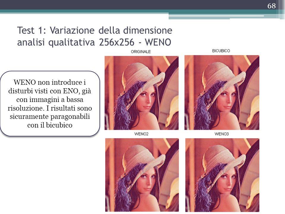 Test 1: Variazione della dimensione analisi qualitativa 256x256 - WENO WENO non introduce i disturbi visti con ENO, già con immagini a bassa risoluzio