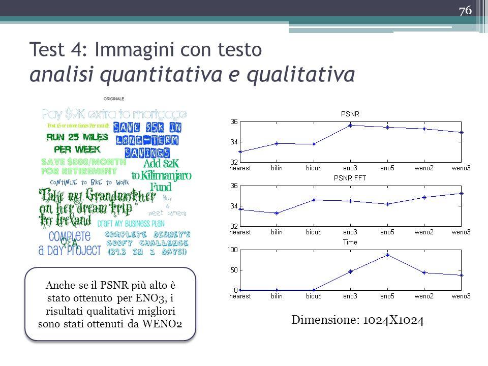 Test 4: Immagini con testo analisi quantitativa e qualitativa Dimensione: 1024X1024 Anche se il PSNR più alto è stato ottenuto per ENO3, i risultati q