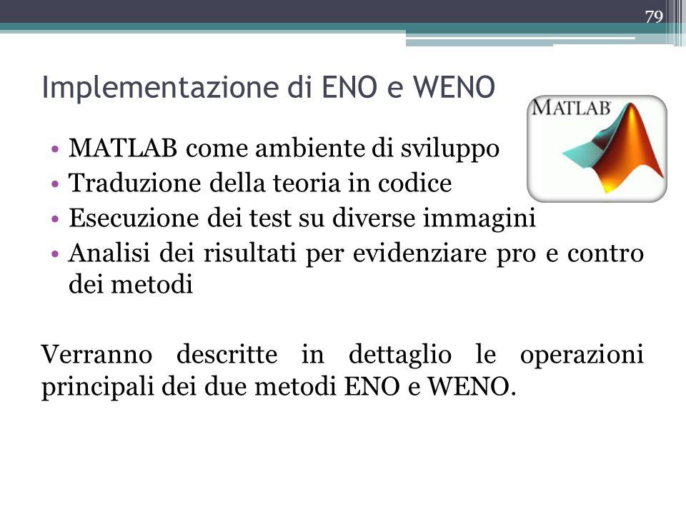Implementazione di ENO e WENO MATLAB come ambiente di sviluppo Traduzione della teoria in codice Esecuzione dei test su diverse immagini Analisi dei r